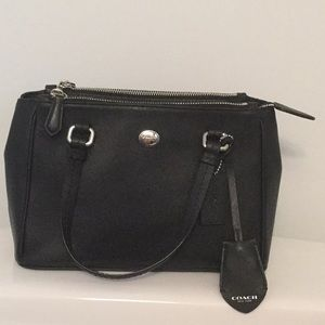 Coach black leather crossbody handbag